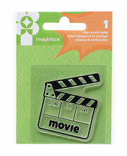 Imaginisce FAMILY FUN ACRYLIC STAMP - MOVIES scrapbooking CLAPPER