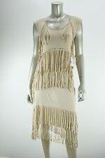 PIECES by KENSIE Beige Fringe Tiered Knit Summer Dress NWT MEDIUM