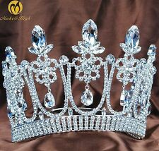 """Floral 5.3"""" Pageant Tiara Headpiece Bridal Crown Clear Crystal Party Costume New"""