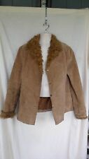 DUNNE AND COLE XL WOMENS LEATHER JACKET 70'S ? HIPPY FUR NECK/END SLEEVES  NICE!