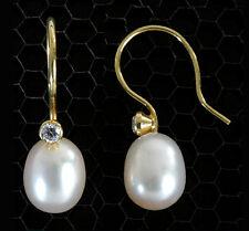 ECHT GOLD *** Perlen Ohrringe Ohrhänger mit Zirkonia