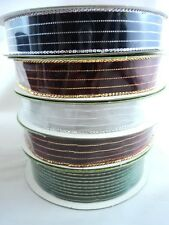 50 Yards Total Assorted Striped Christmas Ribbon Metallic Fabric
