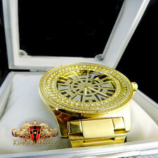 GENIUNE 12 DIAMOND KING MASTER JOJINO JOJO JAPAN MOVEMENT G/P METAL BAND WATCH