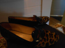 Charlotte Olympia black patent and leopard print fur shoes, Italian size 39