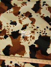 VELBOA FAUX FAKE FUR COW ANIMAL SHORT PILE FABRIC - Brown/Black/Off White - YARD