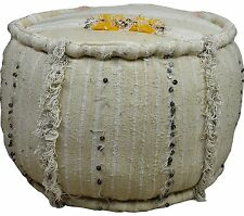 Large Vintage Round Piped edge Handmade Moroccan Handira Sequinned Kilim Stool
