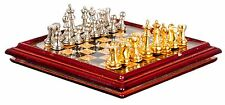 Dollhouse Miniature - Metal Chess Set and Board - 1:12 Scale