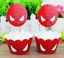 New 12 x Cupcake Cup Cake Decorating,Toppers Wrappers PARTY DECORATION,Spiderman