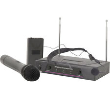 2 Channel Wireless Microphone Receiver System–VHF Handheld Headset Karaoke Radio