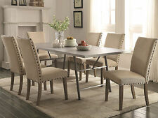 HERALD - 7pcs Transitional Rectangular Dining Room Metal Table & Tan Chairs Set