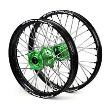 "Kawasaki KX85 Big Wheel 2009 2010 2011 2012 Wheels Set Green Black 16"" 19"" Rims"
