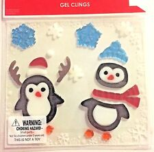 Winter Penguin  with scarves and  Snowflakes  Window Gel Sticker Cling Decor