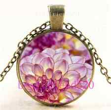 Vintage Pink Dahlia Flowers Cabochon Glass Bronze Chain Pendant Necklace