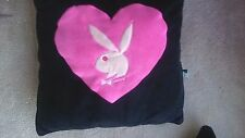 "VINTAGE PLAYBOY BUNNY HEART PINK AND BLACK PILLOW16"" SQUARE  EXC CONDITION"
