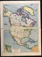 Vintage Map 1920, North America - Harmsworth's Atlas