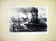 George Picken Signed East River New York City Lithograph