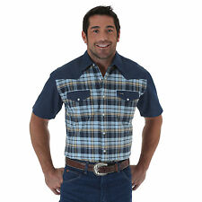 WRANGLER Mens - Short Sleeve Western Shirt - 3XL - BLUE PLAID - MS380BM