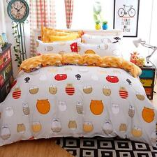 Kid Cute Queen Size Bed Set Pillowcase Quilt Duvet Cover Cute Orange Fat Cats #K