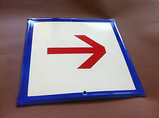 Vintage Enamel Sign Porcelain - Red Arrow Rare Three Colors This Way 1970's