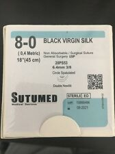 SUTUMED BLACK VIRGIN SILK 8-0, 3/8 6.4mm double needle Surgical Suture