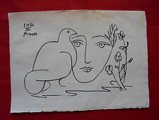 PABLO PICASSO  -  DRAWING / INK ON ORIGINAL PAPER      ..-- -// --- --