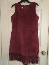 ��Vintage Bagatelle Boho Hippie Suede Leather Fringe Bottom Pencil Dress�� 14