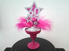 Feather glitter cocktail glass cake topper 18th21st30th any age rhinestones pink