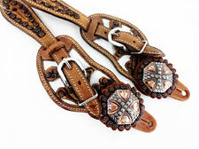 CUSTOM WHITE ENGRAVED LEATHER WESTERN HORSE BARREL TRAIL SHOW SPUR STRAPS TACK