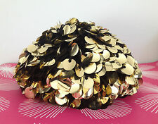 RARE Vintage 1960s MAD MEN Era Gold Sequin Hat Beret Made in Italy PERFECT COND