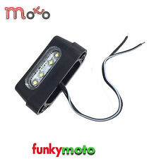MOTORBIKE LED NUMBER PLATE LIGHT RECTANGLE MOTORCYCLE FITTING BLACK UK SELLER