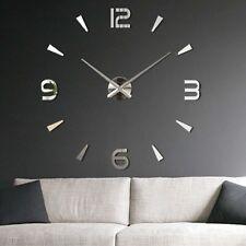 Luxury Modern DIY 3D Large Wall Clock Mirror Surface Sticker Home Office Decor
