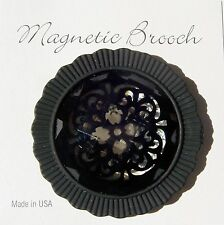 Magnetic Brooch Clip Clasp Pin Black Facetted Glass Stone Dressy Scarves Shawl