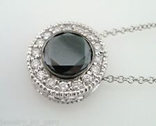 PLATINUM ENHANCED FANCY BLACK DIAMOND PENDANT NECKLACE 1.20 CARAT BEZEL SET