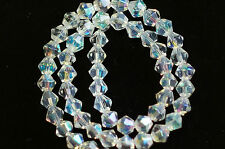 100x CRYSTAL CLEAR~AB~BICONE~FACETED~GLASS BEADS~JEWELLERY / TIARA MAKING,6 MM