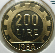 1988   Repubblica Italiana  200  lire  FONDO SPECCHIO  da divisionale