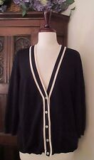 Ralph Lauren Women's Cardigan Knit Silk Blend Nautical Navy White Size L