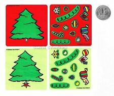 6 Make A Xmas Tree Stickers Winter Party Goody Bag Favor Supply Stocking Stuffer