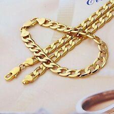 Auténtico 24k Oro Amarillo GF Hombre 8mm Conjunto Pulsera Y Collar Cadena