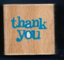 THANK YOU small Gift Tag Card Word DARICE 2011 NEW Wood Mount Craft RUBBER STAMP