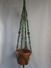 Macrame Plant Hanger 40in Vintage Style with BEADS 6mm Sage Green cord