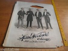 1896-97 Mens Fashion suit Salesman Sampler Morris Woolen Chicago 14x15.5 Tuxedo