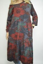 14 16 18 20 22 Italian Boutique Cotton Lagenlook Tunic Dress Quirky Flowers Grey