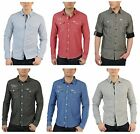 New Soul Star Men's Slim Fit Stripe Check & Plain Long Sleeve Shirt S M L XL