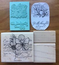 2005 STAMPIN UP Stamp Set GARDEN COLLAGE Wood Mounted RETIRED Butterfly Bird