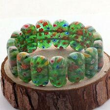 Beautiful Green  Murano Millefiori Glass Lampwork Stretch Bangle Bracelet Gift
