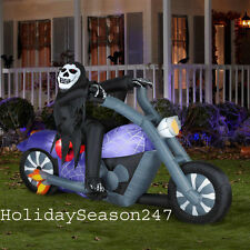 7.5Ft Ghost Biker Reaper Rider On Motorcycle Halloween Airblown Inflatable Prop