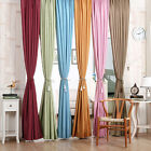 2Pcs Thick Blackout Thermal Grommet Solid Window Curtain Treatment Panels Drapes