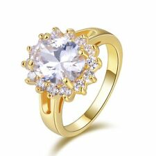 Size 8 Womens 18K Gold FilledFashion White Sapphire Wedding Engagement Rings