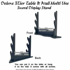 Deluxe 3Tier Table Wall Mount Multi Function Samurai Katana Sword Display Stand