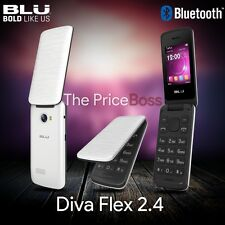BLU Diva Flex 2.4 T350 2G Flip Phone Dual SIM Unlocked GSM Bluetooth White New